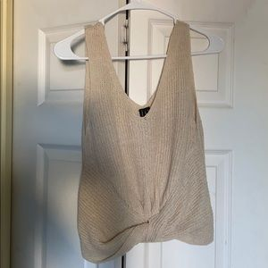 Beige knitted tank top